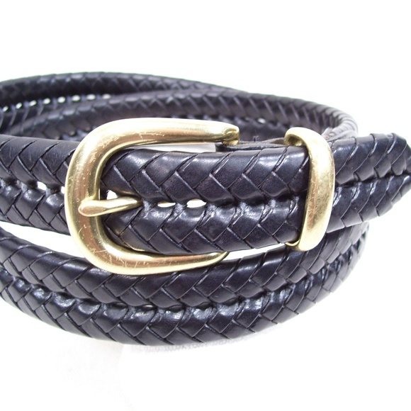 Men's Other - Coach Braided Black Leather Belt Brass Buckle